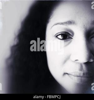 Extreme Close Up Portrait of Woman Banque D'Images
