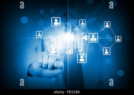 Close up de toucher de l'icône d'écran multimédia Banque D'Images