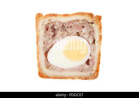 Tranche de porc et des oeufs isolés contre pie gala white Banque D'Images