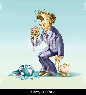 Un brooker à pleurer comme un bébé, car son monde ice cream cone a fondu et est tombé Banque D'Images