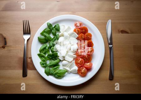 L'Italie sur une assiette. Les meilleurs ingrédients: Basilic, mozzarella et tomates cerises, représentant également Banque D'Images