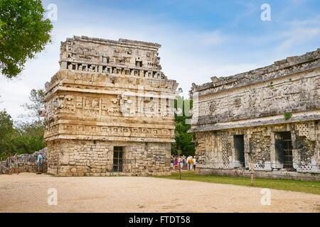 Les anciens Mayas, ruines, Chichen Itza Site Archéologique, Yucatan, Mexique Banque D'Images