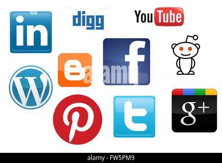 Collection de médias sociaux app icônes disposées dans un fond blanc Banque D'Images