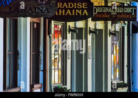 Boutiques de la ville de Lahaina sur Maui, Hawaii, USA Banque D'Images