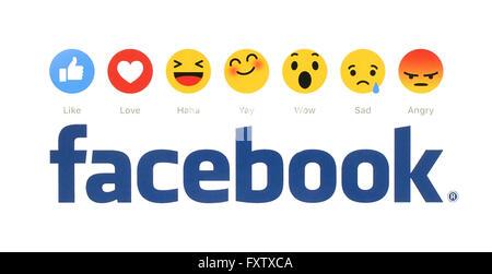 Nouveau Facebook like button 6 Réactions Emoji empathique imprimés sur papier blanc. Banque D'Images