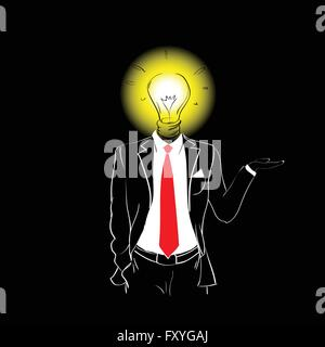 Homme costume cravate rouge Silhouette tête Ampoule nouvelle idée Banque D'Images