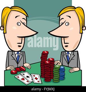 Hommes d'jouer au poker cartoon Banque D'Images