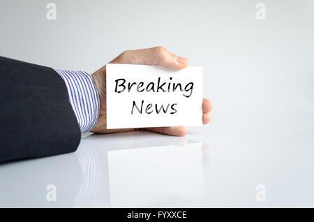 Breaking news concept texte Banque D'Images