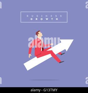 Homme d'affaires en costume rouge. Vector illustration style plat. Banque D'Images