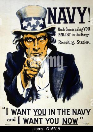 Intitulé: 'Navy! L'Oncle Sam vous appelle - s'engager dans la Navy!' 1917. Affiche montrant l'Oncle Sam pointant Banque D'Images