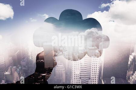Image composite de main tenant cloud Banque D'Images