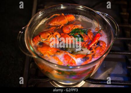La cuisson du poisson en verre transparent craw pot Banque D'Images