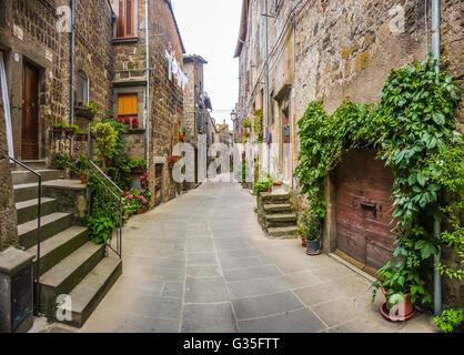 Belle vue de vieilles maisons traditionnelles et ruelle idyllique dans la ville historique de Vitorchiano, Viterbe, Banque D'Images