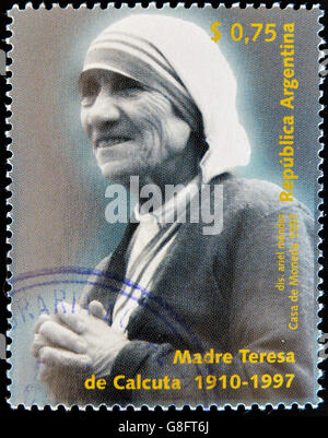 Argentine - circa 1997: timbre imprimé en Argentine montre Mère Teresa, vers 1997 Banque D'Images
