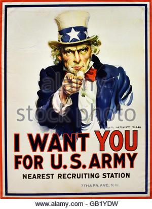 L'Oncle Sam - je veux que vous pour l'armée américaine US Army World War One 1914 -1918 United States of America Banque D'Images