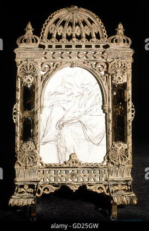 Beaux-arts, Spitzweg, Carl, (1808-1885), esquisse d'un turc, dessin au crayon, petite boîte cadre avec miroir encadré, Banque D'Images