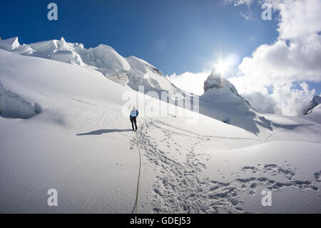 L'homme marche sur glacier dans les Alpes suisses, le Piz Bernina, Grisons, Suisse Banque D'Images