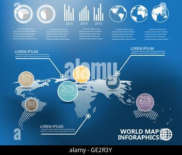 Carte du monde et des infographies éléments sur fond flou. peut être utilisé pour la mise en page, workflow, schéma Banque D'Images