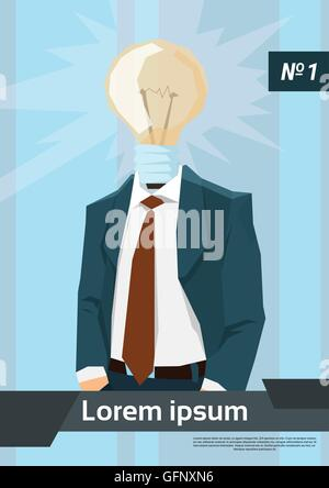 L'homme d'affaires idée nouvelle tête d'ampoule Banque D'Images