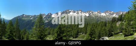 Voir des Aiguilles Rouges/La Flégère de Grand Balcon Nord, nr Chalets de la poignée, Chamonix Mont Blanc, Rhône Banque D'Images