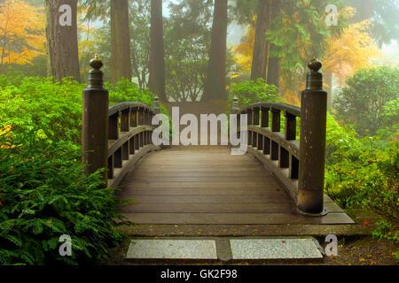 Brouillard pont de jardin Banque D'Images