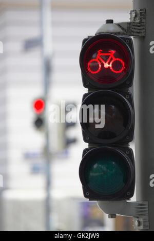 La circulation des bicyclettes s'allume rouge Banque D'Images
