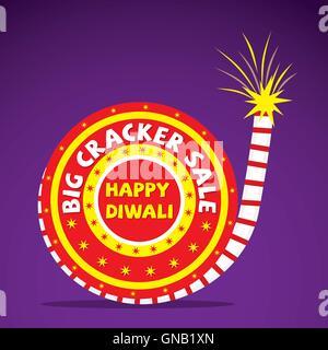 Creative Big cracker vente design de bannières , happy diwali vector Banque D'Images