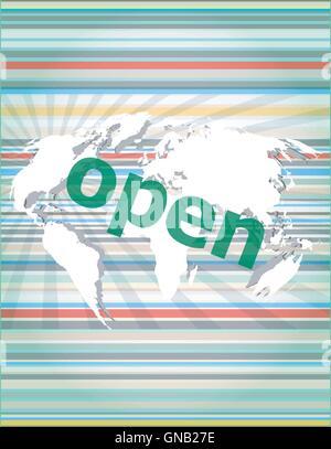 Concept de sécurité: ouvrez word sur écran numérique avec guillemets vecteur ligne fine bulle. concept de référence, Banque D'Images