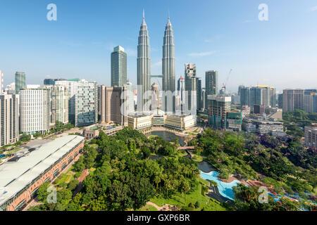 Le centre-ville de Kuala Lumpur et gratte-ciel de Kuala Lumpur, Malaisie Banque D'Images