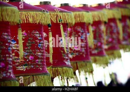 Décorées de lanternes chinoises durant le festival du Nouvel An Chinois, Londres, Royaume-Uni. Banque D'Images