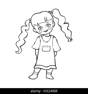 Cute baby girl smiling, mignon bébé fille en robe à pois, T-shirt graphique, illustration Vecteur de fille de bébé, Banque D'Images