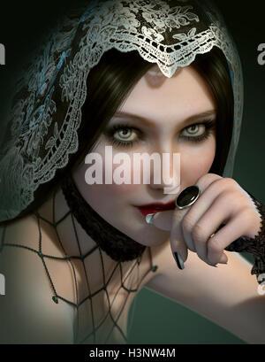 L'infographie 3d d'un portrait d'une dame avec bague pierre noire et d'un voile de dentelle sur la tête Banque D'Images