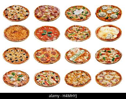 Ensemble de pizzas différentes isolated on white Banque D'Images