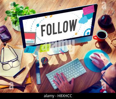 Réseau social de partage de connexion suivi Media Concept Banque D'Images