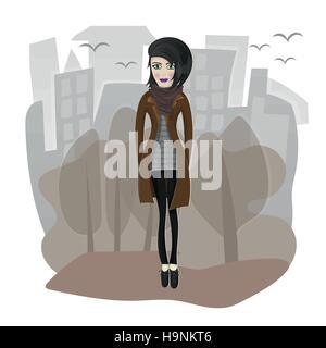 Vector illustration d'élégant fille qui marche dans la ville Banque D'Images