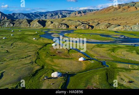 La Mongolie, Bayan-Ulgii province, l'ouest de la Mongolie, le delta de la rivière Sagsay dans les montagnes de l'Altaï Banque D'Images