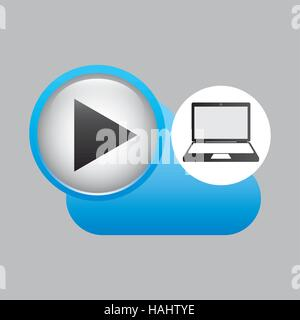 Ordinateur portable media player en ligne cloud illustration vecteur eps 10 Banque D'Images