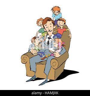 Grande famille, papa dans une chaise avec des enfants Banque D'Images