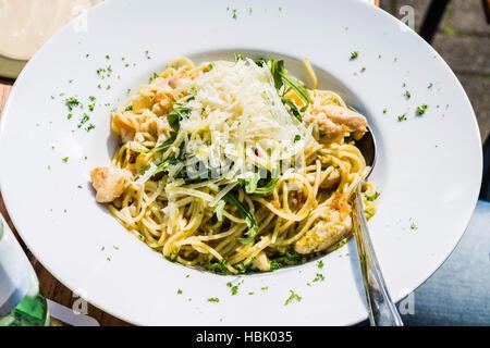 Plaque de pâtes, spaghetti italien. Banque D'Images