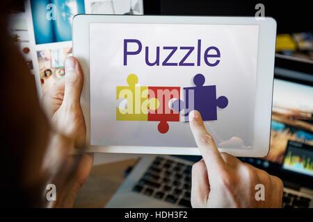 La coopération Partenariat Puzzle Concept Connexion Banque D'Images