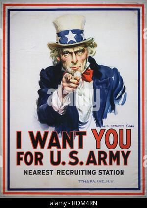 James Montgomery Flagg (1877-1960), je veux que vous pour l'armée américaine, 1917. Ich Will Dich die US-armée. Banque D'Images