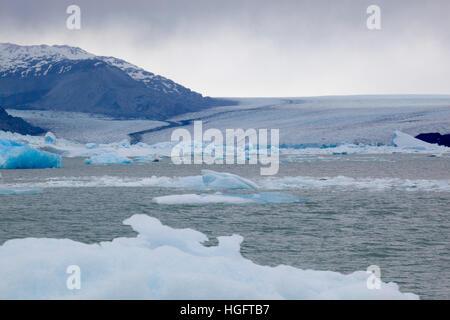 Glacier Upsala et des icebergs sur le lac Argentino, El Calafate, parc national Los Glaciares, Patagonie, Argentine, Banque D'Images