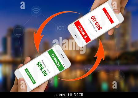 Concept de classement Fintech ou financière à l'aide de la technologie smartphone et e-wallet application pour transférer Banque D'Images