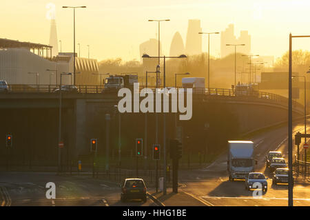 """Londres, Royaume-Uni. 19 Jan, 2017. Air toxique """"alerte rouge"""" publié en huit arrondissements de Londres. Credit: Banque D'Images"""