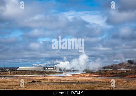 En géothermique de la péninsule de Reykjanes à l'extrémité sud-ouest de l'Islande Banque D'Images