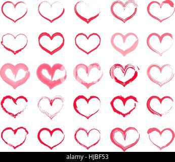 Grunge à cœur. Collection de dessin à la main coeurs avec différents outils tels que brosses, craie, encre, aquarelle. Banque D'Images