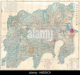 1843 Tienpo période Edo 14 Plan de Mt. Fuji, Tokyo, et environs Geographicus edo 1843 Fuji Banque D'Images