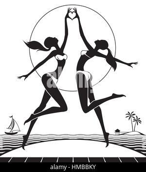 Deux jeunes filles faisant l'amour signe avec les mains - vector illustration Banque D'Images