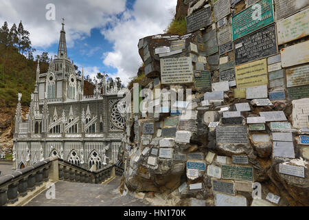 Les plaques commémoratives au sanctuaire de Las Lajas Ipiales Colombie Banque D'Images