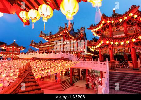 Les lanternes rouges de Thean Hou Temple, Malaisie, au cours de la nouvelle année chinoise lunaire. Banque D'Images